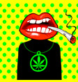 decorative banner on cannabis theme vector image vector image