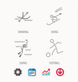 diving football and skiing icons vector image vector image