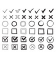 doodle check marks hand drawn checkbox vector image
