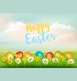 easter holiday background colorful eggs in green vector image vector image