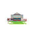 fire station building with emergency vehicle fire vector image vector image
