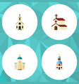 flat icon church set of building religion vector image vector image