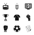 football briefing icons set simple style vector image vector image