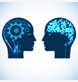 gear wheels and a shone brain heads of two people vector image
