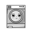 grayscale kawaii cute happy washing machine vector image