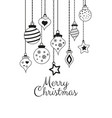 greetings cards for merry christmas with balls vector image vector image