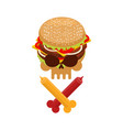 hamburger and ketchup and mustard symbol harm is vector image
