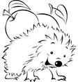 Hedgehog carries on his back an apple vector image