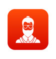 hipsster man icon digital red vector image vector image