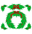 holly christmas decorations set vector image vector image