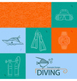 icon collection diving vector image
