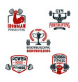 icons bodybuilding gym or powerlifting club vector image vector image