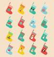 icons set in flat design made of christmas socks vector image vector image