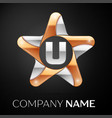 letter u logo symbol in the colorful star on black vector image vector image