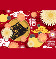 lunar new year poster year yellow pig vector image vector image