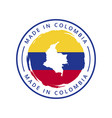 made in colombia round label vector image