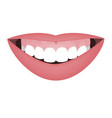 mouth with a distal bite and high smile line or vector image