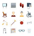 Pensioners life icons flat vector image vector image