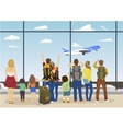 people against looking at plane taking off vector image vector image
