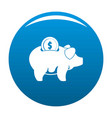 pig money icon blue vector image