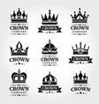 royal crown logo templates set in black and vector image vector image