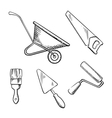 Saw trowel wheelbarrow paint brush and roller vector image vector image