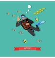 Scuba diver under water with fishes flat design vector image vector image