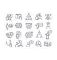 set black and white business training icons