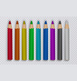 set of colored pencils to draw on transparent vector image