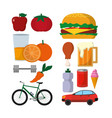 set of healthy and unhealthy lifestyle vector image