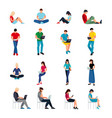 set of people in a flat style isolated vector image