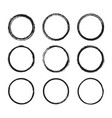 set of round frames painted with an ink brush vector image vector image