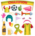 soccer fan set sportsfan football hand foam vector image