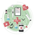 Thin lines flat design of city medicine services vector image