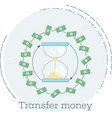 transfer money concept in line art style vector image vector image