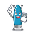 with phone iron board character cartoon vector image