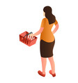 woman red shop basket icon isometric style vector image