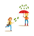 woman running after flying money banknote rain vector image vector image