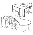 workplace interior sketch vector image