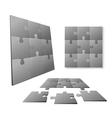 3D Gray puzzle piece set vector image
