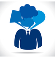 businessmen head with different bubble vector image