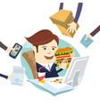 funny multitasking business man eating sandwich vector image