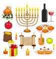 set of hanukkah celebration elements vector image