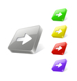 3d web button with arrow icon vector image