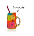 Cup with lemonade sketch for your design vector image