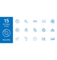 15 record icons vector image vector image
