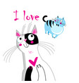 a loving cat vector image vector image