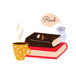 a pile books and funny vector image vector image