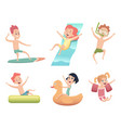 aquapark characters activities in water pool sea vector image
