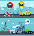autonomous driverless vehicles banners vector image vector image